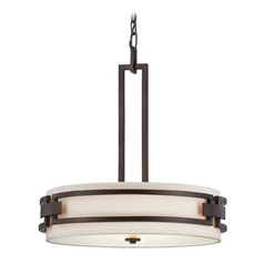 Drum Pendant Light with White Shades in Flemish Bronze Finish