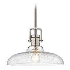 Seeded Glass Pendant Light Satin Nickel Finish  14-Inch Wide