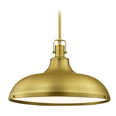 Farmhouse Brass Pendant Light 18.38-Inch Wide