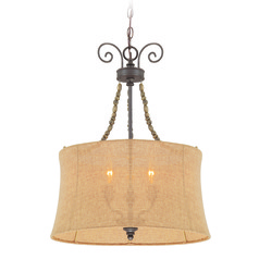 Jeremiah Quincy Seville Iron Pendant Light with Drum Shade