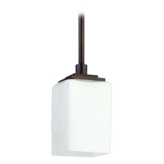 Quorum Lighting Delta Oiled Bronze Mini-Pendant Light with Rectangle Shade