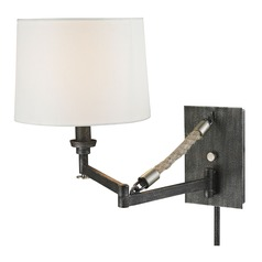 Elk Lighting Natural Rope Silvered Graphite/polished Nickel Accents Swing Arm Lamp