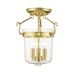 Livex Lighting Rockford Polished Brass Semi-Flushmount Light
