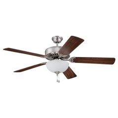 Craftmade Pro Builder 207 Brushed Polished Nickel Ceiling Fan with Light