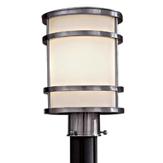 Modern Post Light with White Glass in Stainless Steel Finish