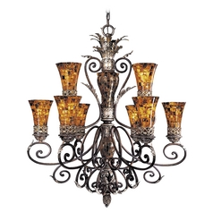 Chandelier with Amber Glass in Cattera Bronze Finish