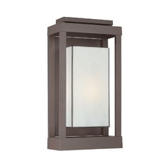 Outdoor Wall Light with Art Glass in Western Bronze Finish