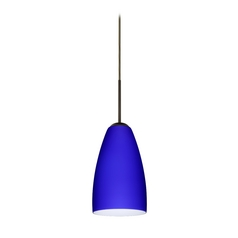 Modern Pendant Light with Blue Glass in Bronze Finish