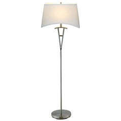Modern Floor Lamp with White Shade in Satin Steel Finish