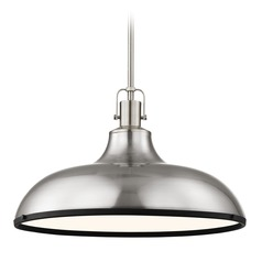 Nautical Metal Pendant Light Satin Nickel and Black 18.38-Inch Wide