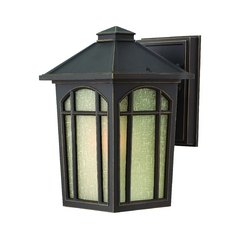 Outdoor Wall Light with White Glass in Oil Rubbed Bronze Finish