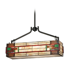 Billiard Light with Multi-Color Glass in Tiffany Bronze Finish