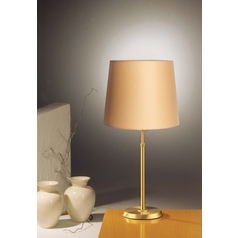 Holtkoetter Modern Table Lamp with Beige / Cream Shade in Brushed Brass Finish