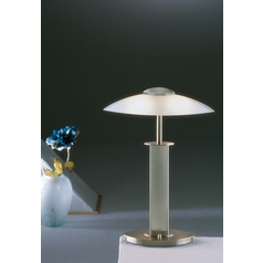 Holtkoetter Modern Table Lamp with White Glass in Satin Nickel Finish