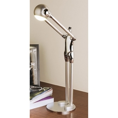 Adjustable 'Contribute to Max' Artistic Chrome Plated LED Desk Lamp