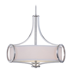 Modern Drum Pendant Light with White Shades in Chrome Finish