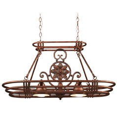 Kenroy Home Lighting Lighted Pot Rack in Gilded Copper Finish 90304GC