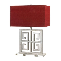 Table Lamp with Red Shades in Silver Finish