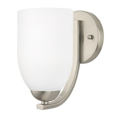 Modern Wall Sconce with White Glass in Satin Nickel Finish