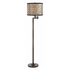 Modern Swing Arm Lamp with Black Shade in Bronze Finish