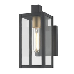 Modern Outdoor Wall Light Black 11.75-inches Tall
