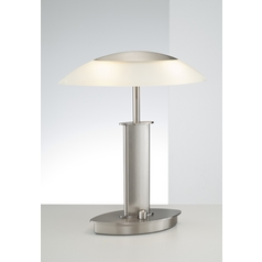 Holtkoetter Modern Table Lamp with Beige / Cream Glass in Satin Nickel Finish