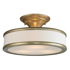 Elk Lighting Clarkton Aged Silver Semi-Flushmount Light