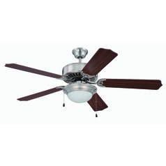 Craftmade Pro Builder 209 Brushed Polished Nickel Ceiling Fan with Light
