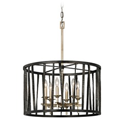 Troy Lighting Bastille Pompeii Silver / Silver Leaf Pendant Light with Drum Shade