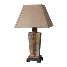 Table Lamp in Handcarved Slate / Hammered Copper Finish