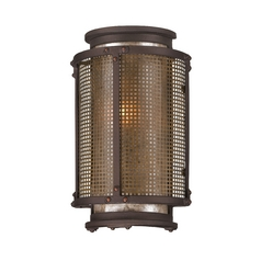 Outdoor Wall Light with Grey Mica Shade in Centennial Rust Finish