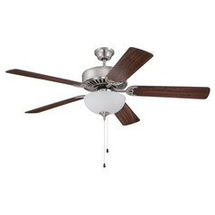 Craftmade Pro Builder 207 Brushed Satin Nickel Ceiling Fan with Light