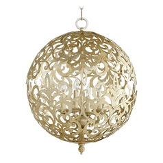 Quorum Lighting Le Monde Aged Silver Leaf Pendant Light with Globe Shade