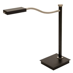 House Of Troy Lewis Black with Satin Nickel LED Swing Arm Lamp with Rectangle Shade
