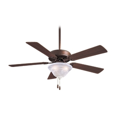 Ceiling Fan with Light with White Glass in Oil Rubbed Bronze Finish
