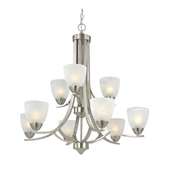 Modern Nickel Chandelier with Nine Lights