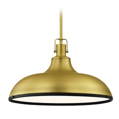 Industrial Large Metal Pendant Light Brass with Black 18.38-Inch Wide