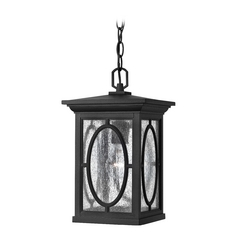 Seeded Glass Outdoor Hanging Light Black Hinkley Lighting