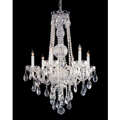 Crystorama Traditional 6-Light Crystal Chandelier in Polished Chrome