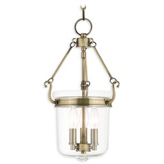 Livex Lighting Rockford Antique Brass Pendant Light with Bowl / Dome Shade