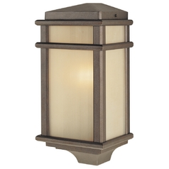 Outdoor Wall Light with Amber Glass in Corinthian Bronze Finish