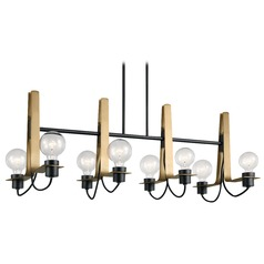 Modern Linear Chandelier Black Arvela by Kichler Lighting
