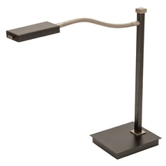 House Of Troy Lewis Granite with Satin Nickel LED Swing Arm Lamp with Rectangle Shade