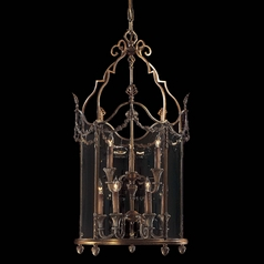Pendant Light with Clear Glass in Antique French Gold Finish