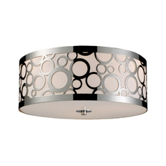 Modern Flushmount Light with White Glass in Polished Nickel Finish