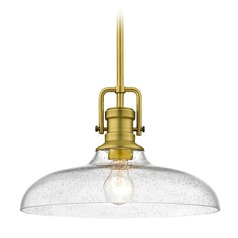 Seeded Glass Pendant Light Satin Brass Finish  14-Inch Wide