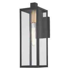 Modern Outdoor Wall Light Black 17.25-inches Tall