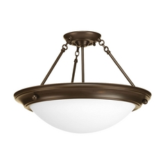 Semi-Flushmount Light with White Glass in Antique Bronze Finish
