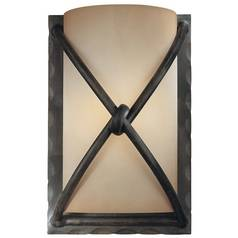 Minka Lighting, Inc. Sconce with Beige / Cream Glass in Aspen Bronze Finish 1974-1-138