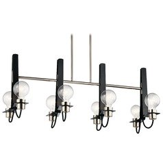 Modern Linear Chandelier Polished Nickel Arvela by Kichler Lighting